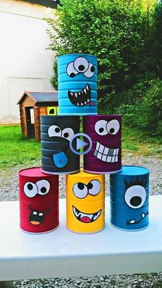 Break the box of little monsters ! - Children's cake diy cardboard Break the bo. - Break the box of little monsters ! – Children's cake diy cardboard Break the box of little mon - Kids Crafts, Tin Can Crafts, Projects For Kids, Diy For Kids, Craft Projects, Diy And Crafts, Rock Crafts, Big Kids, Project Ideas