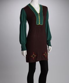 Another great find on #zulily! Coline USA Chocolate Embroidered V-Neck Tunic - Women by Coline USA #zulilyfinds