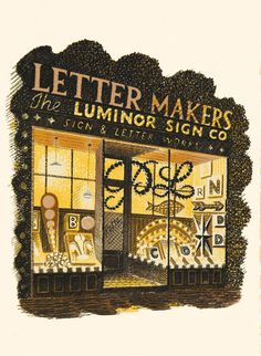 Eric Ravilious (1903-1942), Letter Maker, c.1938, Lithograph, W:13.5cm H:15.3cm, £450 framed, Modern British Paintings and Prints - The Scottish Gallery, Edinburgh - Contemporary Art Since 1842