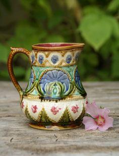 Antique majolica flowers pitcher/ jug, Nimy, 1900