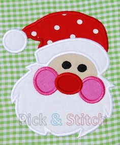 Santa Face Christmas Applique machine embriodery by pickandstitch, $4.00