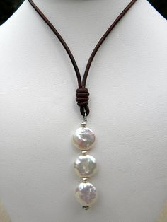 Natural White Pearls Sterling Silver Leather by TANGRA2009 on Etsy
