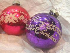 #MerryChristmas #Xmas #ShinyBrite #MercuryGlass #VintageChristmas #PinkChristmas #PinkXmas #Stencil #Mica