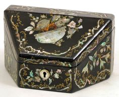 Victorian papier-mache four division stationery box with mother-of-pearl inlay, x x high Jewellery Box, Jewelry, Napoleon Iii, Woodworking Box, Classic Architecture, Painted Flowers, Victorian Decor, Antique Auctions, Painted Boxes