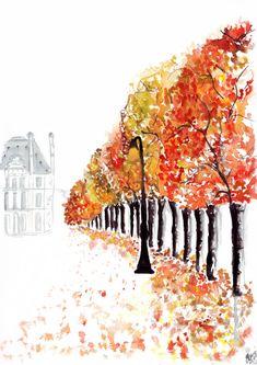 Aquarell Mode Illustration mit dem Titel Paris von FallintoLondon