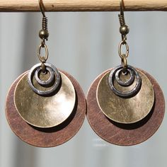 Copper Earrings Brass Earrings Mixed Metal by NtikArtJewelry