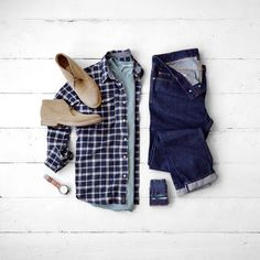 Men's Classic Fashion, Plaid, Denim and Boots #denim #boots #mensfashion