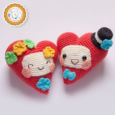 PATTERN -Fanny Hearts - crochet pattern, amigurumi pattern, Valentine's Day Decor, pdf - Instant Download