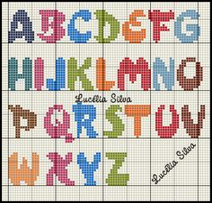 Darling Make Alphabet Friendship Bracelets Ideas. Wonderful Make Alphabet Friendship Bracelets Ideas. Cross Stitch Alphabet Patterns, Alphabet Charts, Cross Stitch Letters, Stitch Patterns, Cross Stitch Thread, Cross Stitch Baby, Cross Stitching, Cross Stitch Embroidery, Plastic Canvas Letters