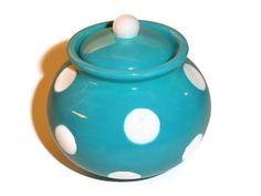 Ceramic Sugar Bowl in Retro Turquoise with White Polka Dots. $23.00, via Etsy.