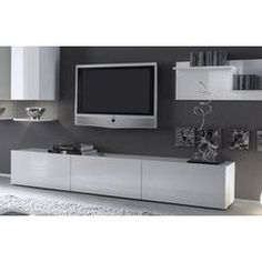Meuble tv hi fi adhara meuble tv mural 240 cm blanc gris for Meuble tele bas blanc