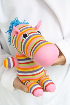 T4 Plush   toy  Eco friendly   textile toy Zebra stuffed animals  toys  little girl gift sock  Dolls and Miniatures   Home Decor on Etsy, $15.60