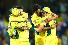 Australian players celebrate winning the 2015 Cricket World Cup Semi Final match between Australia and India at Sydney Cricket Ground on March 26, 2015 in Sydney, Australia.