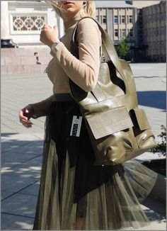 Stylish Brown Daiva Art Genuine soft leather backpack MOD-222