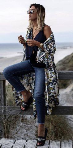 boho style perfection printed cape + black top + jeans + flip flop