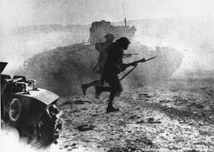 Scots Guards supported by tanks charge during the First Battle of El Alamein, Egypt - 27th of July 1942.