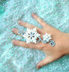 3021b1eac166 Blue and White Snowflake ring wintery accessory winter fairy costume