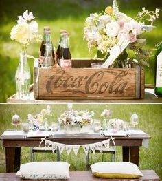Mom collected coke stuff. This would be a great idea to incorporate her into my wedding decor.