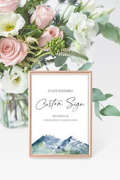 5x7 Custom Sign Template Printable, Mountain Editable Custom Sign, Mountain Wedding Signage, Bridal Shower Signs, Instant Download, A03 Wedding Doors, Wedding Signage, Diy Wedding, Coin Design, Bridal Shower Signs, Sign Templates, Elegant Table, Wedding Table Numbers, Love Is Sweet