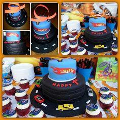 Hot Wheels Birthday Cake & Cupcakes  - great job Irma!