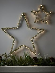 Two Frosted Fir Lit Stars
