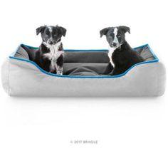 Brindle Reversible Bolster Waterproof Dog Bed, Blue