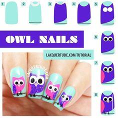 Cute Owl Nail Tutorial.