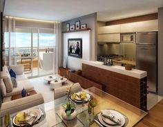 Sala integrada com cozinha. Uma maneira de colocar cor na parede da tv.