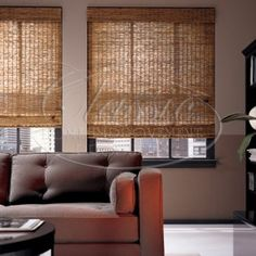 Our featured window blinds of the week- Hunter Douglas Provenance Woven Wood Blinds and Shades. These would look beautiful in your home Patio Blinds, Diy Blinds, Outdoor Blinds, Bamboo Blinds, Fabric Blinds, Shades Blinds, Wood Blinds, Curtains With Blinds, Blinds Ideas