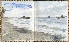 Sketched at Ruby Beach, Olympic National Park, 2010. Complete with banana slug stamp from the park ranger. We're nothing but classy here, folks.