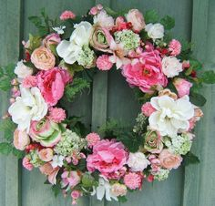 Hey, I found this really awesome Etsy listing at https://www.etsy.com/listing/267820256/pretty-pinks-floral-wreath-spring-wreath