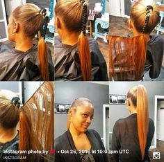 Begin wrapping extensions around middle of natural ponytail Weave Ponytail Hairstyles, Ponytail Styles, Girl Hairstyles, Curly Hair Styles, Natural Hair Styles, Long Ponytails, Coiffure Hair, Sleek Ponytail, Hair Game