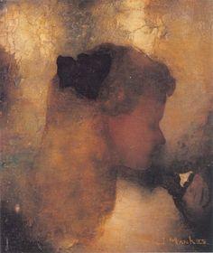 'Meisje met witte bloem', 1911 - Jan Mankes (1889-1920) | olieverf/doek op paneel | Museum voor Moderne Kunst.