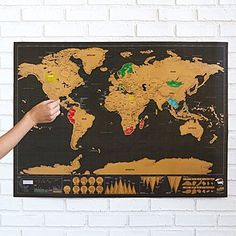 Scratch world map simple design scratch map deluxe scratch off wall maps uncommongoods Holiday Gift Guide, Holiday Gifts, Christmas Gifts, Xmas, Christmas 2016, Christmas Projects, Family Christmas, 30 Gifts, Unique Gifts