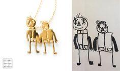 Personalized Jewelry   Children's Drawings Inspired Jewelry Made By The Polish Artist Bialek Design Studio   https://www.facebook.com/bialekdesignstudio/
