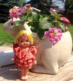 Available now!  Kitschy vintage kewpie doll made of cellulose plastic 1950's circa
