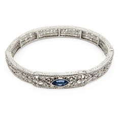 ThinkGeek :: Inspired by Downton Abbey Silver Stretch Bracelet with Blue Sapphire and Crystal