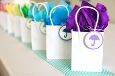 Rainbow Baby Shower Party Favor Tags - Set of 12 - Umbrella Rainbow Baby Shower Party Favor by Spark & Delight - Baby Shower Gift Bags, Baby Shower Party Favors, Baby Party, Baby Shower Parties, Baby Shower Themes, Baby Shower Decorations, Baby Boy Shower, Shower Ideas, Baby Shower Souvenirs