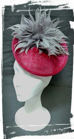 Tocado flor de plumas, hats, bridal millinery,  feather millinery,  sinamay millinery
