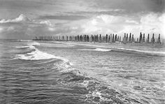Huntington Beach coastline with oil rigs -1940