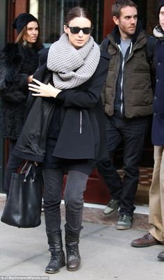 rooney mara - gray scarf and black coat