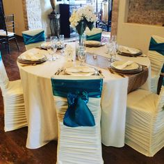 Teal and ivory table