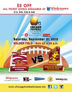 16th Annual Chicago Football Classic At Soldier Field September 21st! - http://chicagofabulousblog.com/2013/09/17/16th-annual-chicago-football-classic-at-soldier-field-september-21st/
