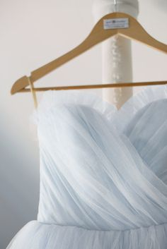 Pale Blue Tulle Wedding Dress Vintage Style Ball Gown by AvailCo