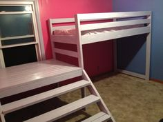 Twin loft beds with platform- I DID IT!! YAY!!! From- Do It Yourself Home Projects from Ana White