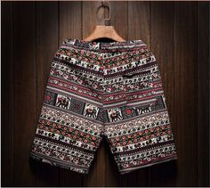 2017 Men's Beach Casual Art Shorts Comfort Printing Men's Linen M1 - Shorts