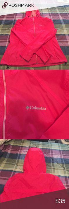 Columbia Rain Jacket Only worn twice! No damage! Hood rolls up and tucks away. Columbia Jackets & Coats