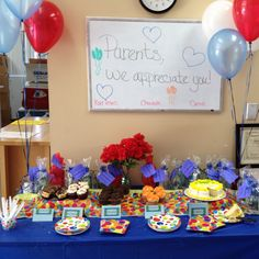 Parent Appreciation Table