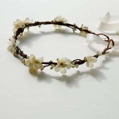 Bridal hair crown, Wedding wreath, Flower head piece, Boho garland, Ivory flower crown - MAIDEN. $60.00, via Etsy.