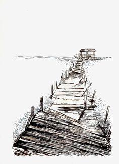 https://flic.kr/p/wARG1A   Paseo con cabaña al fondo   Técnica Mixta - 210 x 297 mm. - Papel Basik.  Dibujo realizado con rotuladores de tinta china y lápices de colores.
